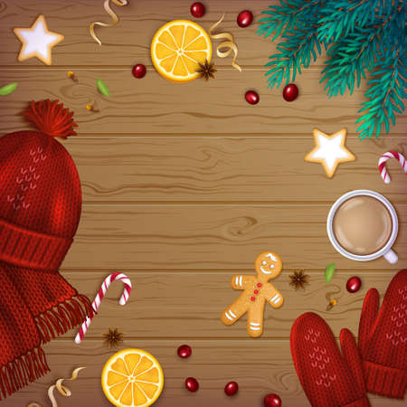 Merry Christmas and Happy New Year Greeting Background. Winter Elements fir branches, knitted red hat, mittens, cup of coffee, spice, sweets, garland, berries, ribbons on a wooden table. Top View. Illustration