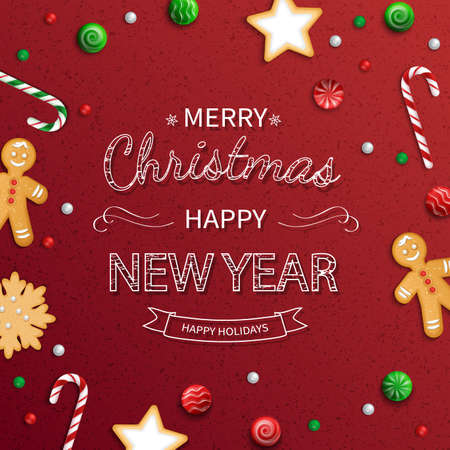 Merry Christmas and Happy New Year Greeting card. lettering with sweets, cookie, lollipops, candy cane, gingerbread man on red background. For web or printing Top View Vector