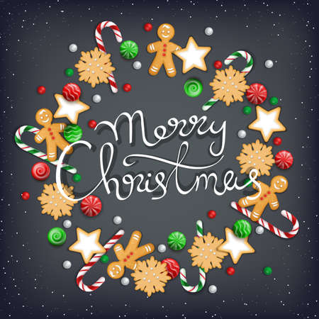 Merry Christmas Hand Drawn Lettering. Wreath of sweets, biscuit, cookie, lollipops, candies, candy cane, gingerbread Man on a black table. For web or printing Top View Vector Standard-Bild - 156298024