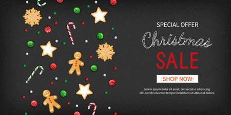 Christmas sale Special offer horizontal banner. Winter festive traditional sweets, cookies, lollipops, candy cane, gingerbread man on a black background. Top View. Vector