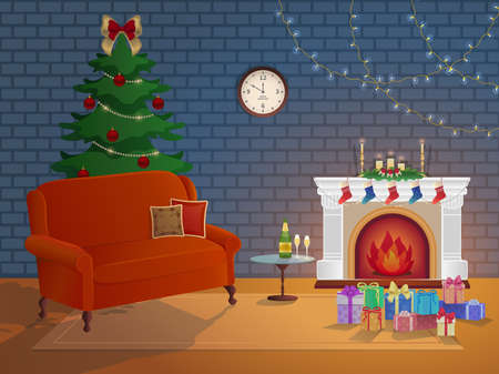 Merry Christmas room interior on a brick background with a fireplace, Christmas tree. Candles socks and decorations. Waiting for the New Year and Christmas card. Vector Vektorgrafik