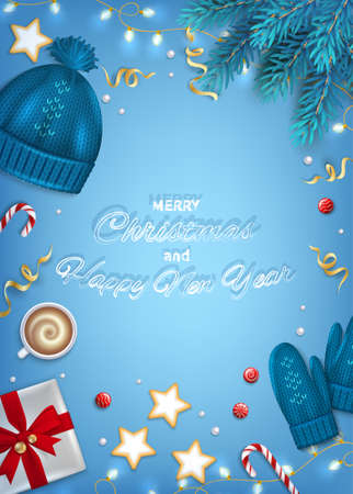 Merry Christmas and Happy New Year Greeting card. Winter Elements fir branches, knitted blue hat, mittens, coffee cup, gifts, candy cane, sweets, cakes, garlands, ribbons on blue background. Top View