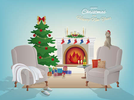 Merry Christmas room interior background with a fireplace, Christmas tree, armchairs, Santa Claus cap, gift boxes, cat. Candles socks and decorations. Waiting for the New Year and Christmas card Vector Illustration