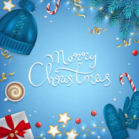 Merry Christmas Hand Drawn Lettering Greeting Background. Winter Elements fir branches, knitted blue hat, mittens, coffee cup, gifts, candy cane, sweets, cakes, garlands on blue table Top View Vector