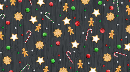 Merry Christmas and Happy New Year Background. Winter traditional sweets, biscuit, cookie, lollipops, candies, candy cane, gingerbread Man on a wooden black table. For web or printing Top View Vector