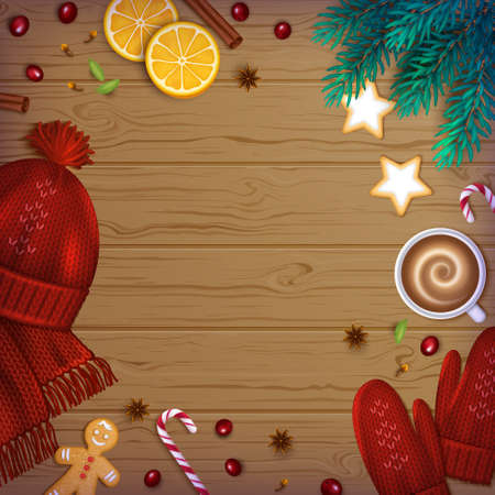 Merry Christmas and Happy New Year Greeting Background. Winter Elements fir branches, knitted red hat, mittens, cup of coffee, spice, sweets, berries, bakery on a wooden table. Top View. Vector