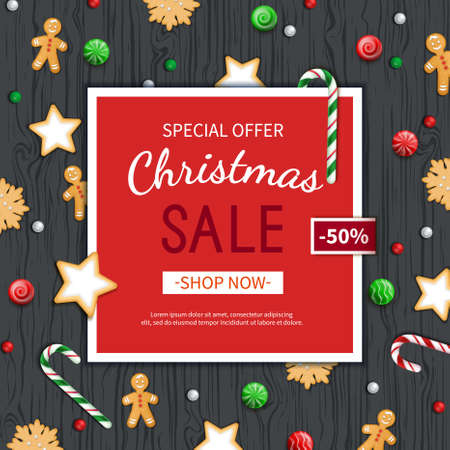 Christmas sale flyer template. Poster, card, label, background, banner on red frame with sweets on a wooden black table. Special seasonal offer. Vector illustration. Top view