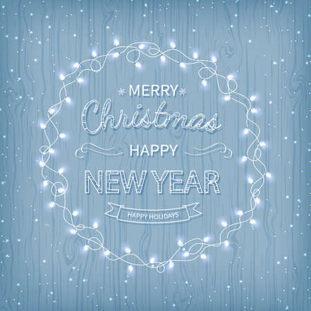 Merry Christmas and Happy New Year Greeting Background. Beautiful logo lettering with garlands on a on a blue background. Xmas card Vector illustration Illustration