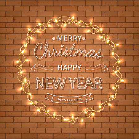 Merry Christmas and Happy New Year Greeting Background. Beautiful logo lettering with garlands on a brick wall background. Xmas card Vector illustration Standard-Bild - 159235990