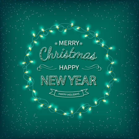 Merry Christmas and Happy New Year Greeting Background. Beautiful logo lettering with garlands on a green background. Xmas card Vector illustration Standard-Bild - 159235859