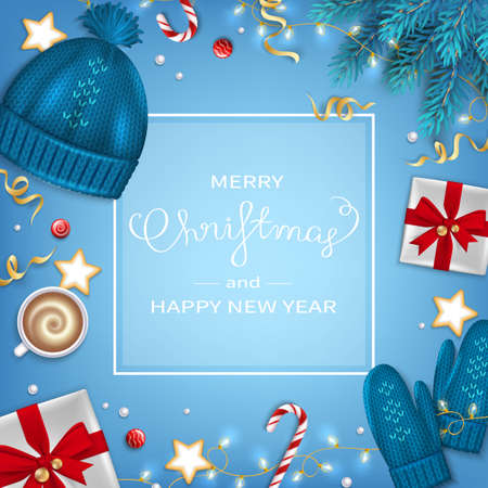 Merry Christmas and Happy New Year Greeting Background. Winter Elements fir branches, knitted blue hat, mittens, coffee cup, gifts, candy cane, sweets, cakes, garlands on blue table Top View Vector