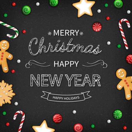 Merry Christmas and Happy New Year Greeting card. Logo lettering with sweets, cookie, lollipops, candy cane, gingerbread man on black background. For web or printing Top View Vector Standard-Bild - 159235861