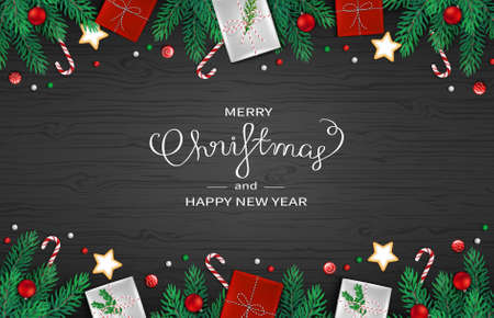 Merry Christmas and Happy New Year horizontal Web Banner Template. Festive Decoration with fir branches, gifts, candy cane, lollipops, balls on black wooden background. Vector Illustration.