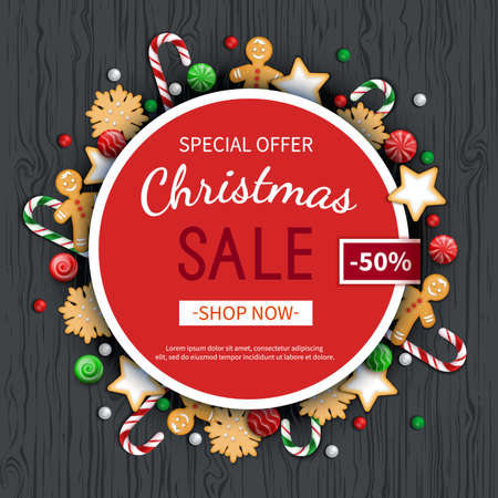 Christmas sale flyer template. Poster, card, label, background, banner on circle frame with sweets, cookie, lollipops. Special seasonal offer. Vector illustration. Standard-Bild - 159235873