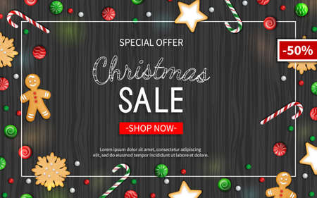 Christmas sale horizontal flyer template. Poster, card, label, background, banner on frame with sweets on a wooden black table. Special seasonal offer. Vector illustration. Top view