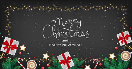 Merry Christmas and Happy New Year Greeting flyer. Winter Elements fir branches, paper gifts boxes, cup of coffee, cookies, sweets, ribbons in the frame of garlands. Black background.Top View. Vector