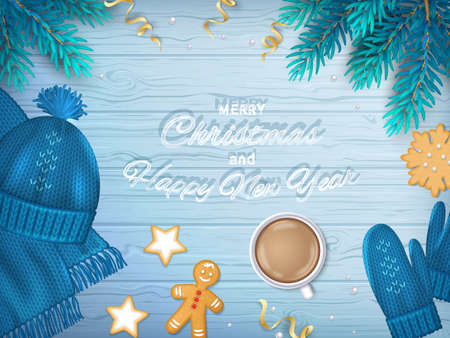 Merry Christmas and Happy New Year Greeting Background. Winter Elements fir branches, blue knitted hat, scarf, mittens, coffee, cookie, gingerbread Man, ribbons on a wooden blue table. Top View Vector