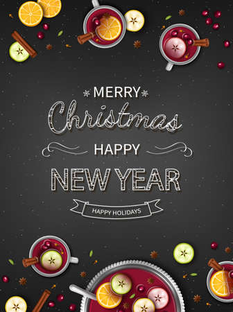 Merry Christmas Greeting vertical Background with Winter traditional drink punch in a bowl and cups, oranges, apples, spices, cardamom, cinnamon, anise on a black table. Top View. Vector Standard-Bild - 159604129