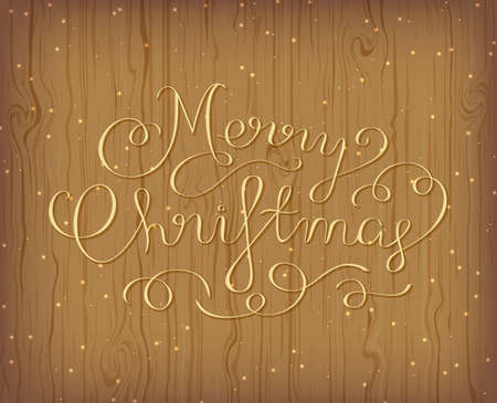 Merry Christmas Greeting Card. Calligraphic Hand Lettering design card template. Wooden background with lights. Vector illustration