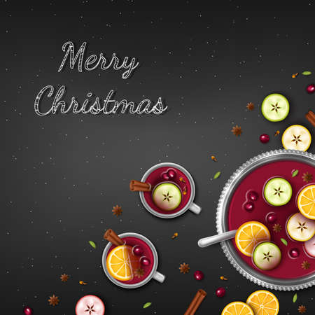 Merry Christmas Greeting Background. Winter traditional drink punch in a bowl and cups, slices of oranges, apples, spices, cardamom, cinnamon, anise, berries on a black table. Top View. Vector Standard-Bild - 159604133