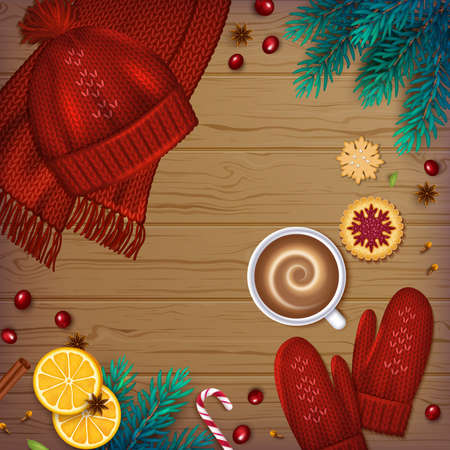 Winter traditional Background. Christmas Elements fir branches, knitted red hat, mittens, cup of coffee, cinnamon, cardamom, anise, berries, cookies ribbons on a wooden table. Top View. Vector Standard-Bild - 159604137