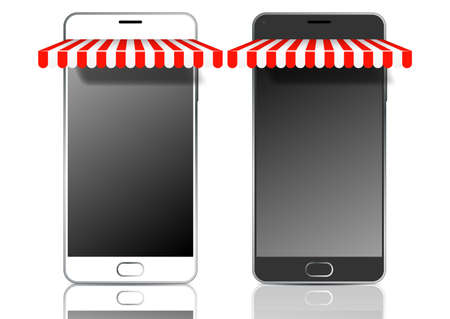 Black and white mobile smart phones with awnings