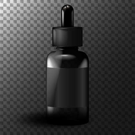 Realistic black vape liquid bottle mockup - transparent vector illustration