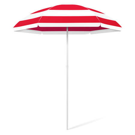 Vector open beach colorful umbrella - red and white stripes