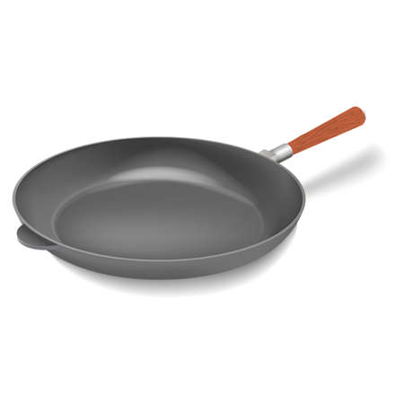 Vector realistic iron grill frying pan with handle illustration Ilustração