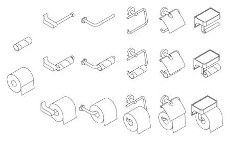 Vector set of isometric toilet paper roll holder empty and full on white background