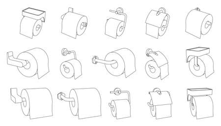 Vector set of toilet paper roll holder empty and full on white background