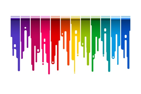 Colorful brush paint dripping - Vector illustration