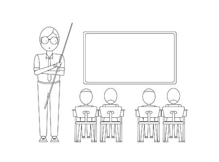sketch child: Kids studying in classroom with teacher - Vector illustration