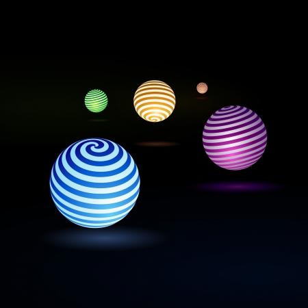 ball lightning:  Abstract colorful light globe - illustration