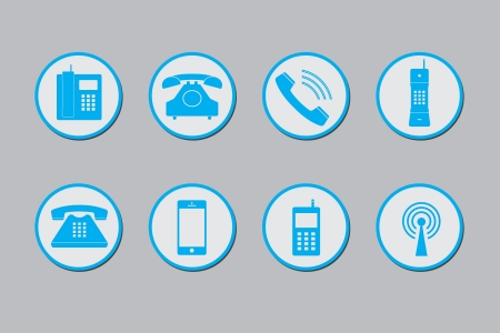 Phone and mobile image icon set - illustration Vector