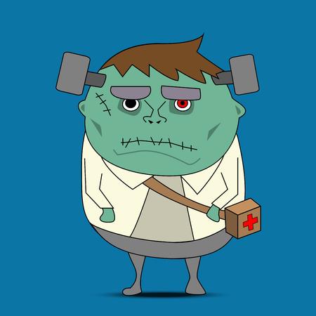 Frankenstein cartoon vector for halloween Illustration