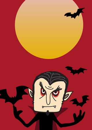 flying coffin: Dracula poster for Halloween party Illustration