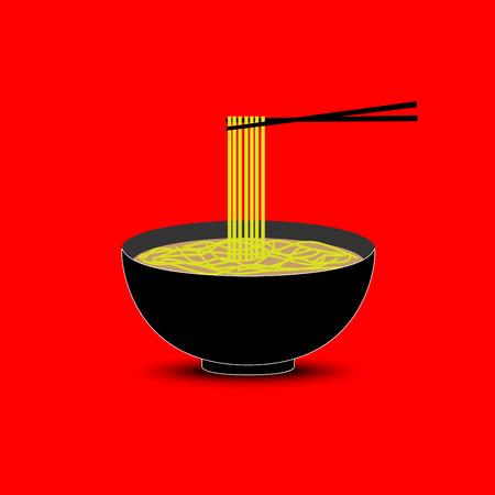 noodles: Noodles in the bowl Illustration