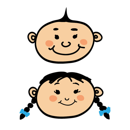 Smiling cartoon baby boy and girl on white background