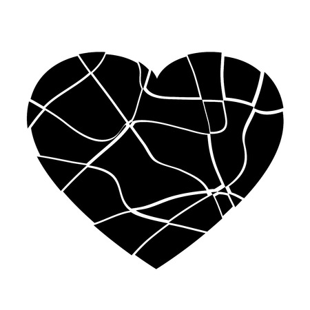 Broken black heart vector design Иллюстрация