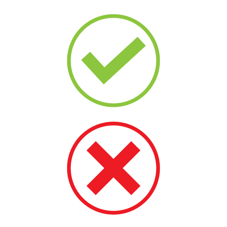 green cross: Right and Wrong icon design Illustration