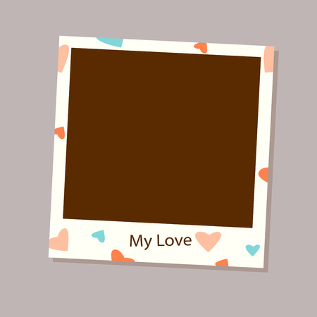 square tape: Photo frame vector for love