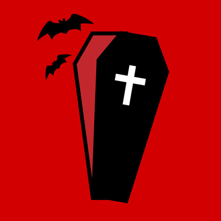 Coffin icon isolated on red background Vetores