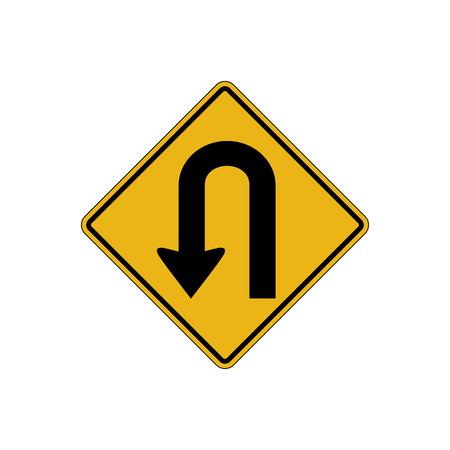U turn sign vector art