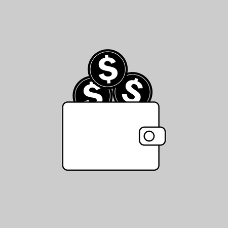 Wallet with dollars icon on gray background, vector illustration. Banco de Imagens - 91334630