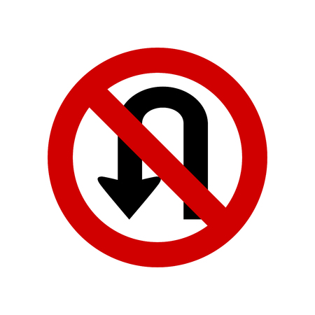 No U turn sign  isolated Vector illustration.