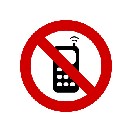 No cell phone sign vector isolated