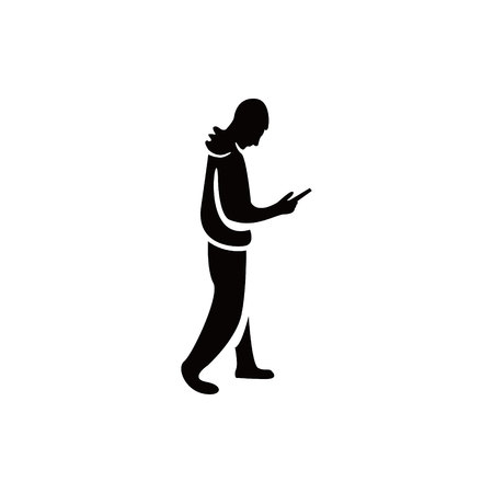 cellphone in hand: man goes with the phone in hand icon vector flat design