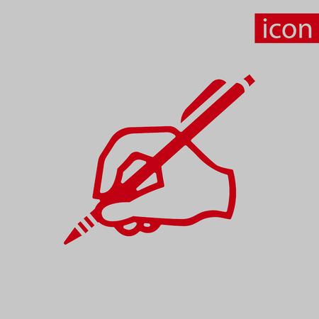 hand writing: hand writing icon stock vector illustration flat design Illustration