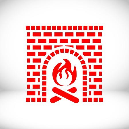fireplace icon stock vector illustration flat design Illustration